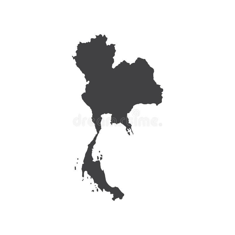 Silhueta do mapa de Kingdom of Thailand ilustração stock