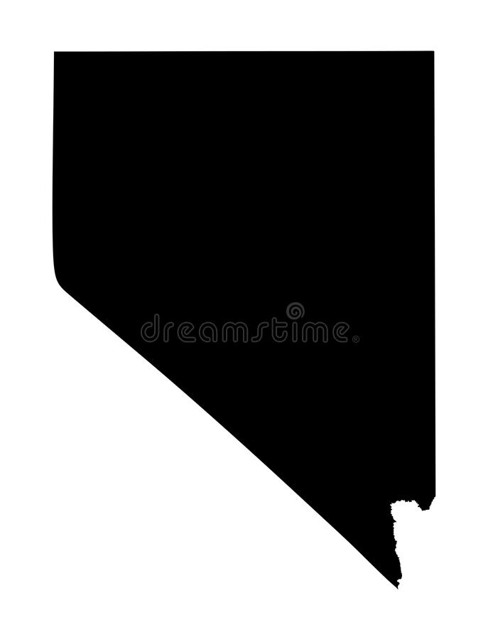 Silhueta do mapa de Nevada ilustração stock