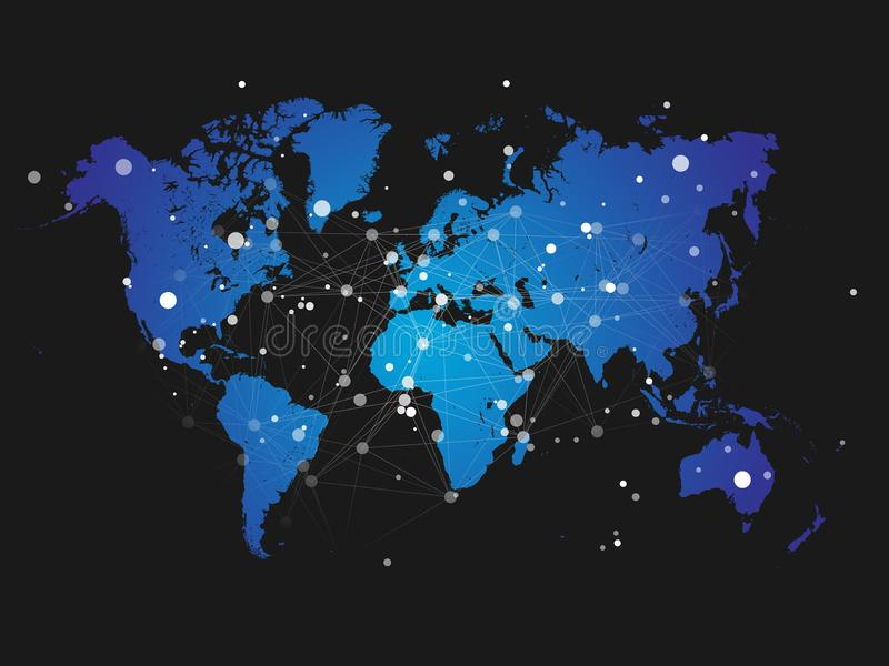 Silhueta do mapa do mundo com grade da conexão - vetor ilustração stock