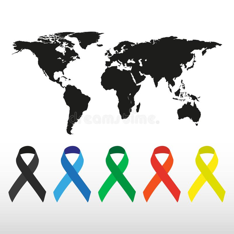 A silhueta do mapa do mundo do globo fez com grupo do ícone do SIDA ilustração royalty free