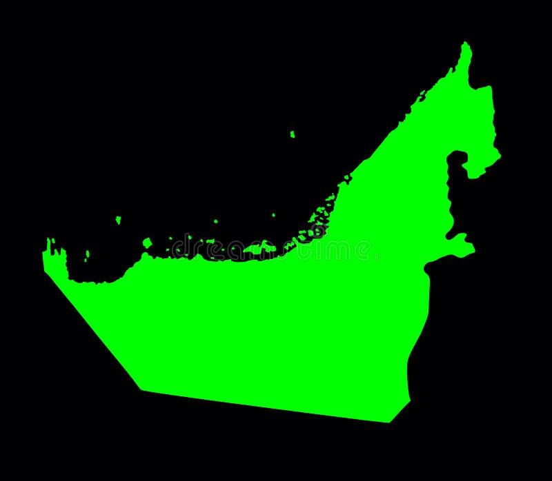 Silhueta do mapa do verde do vetor de Emiratos Árabes Unidos ilustração royalty free
