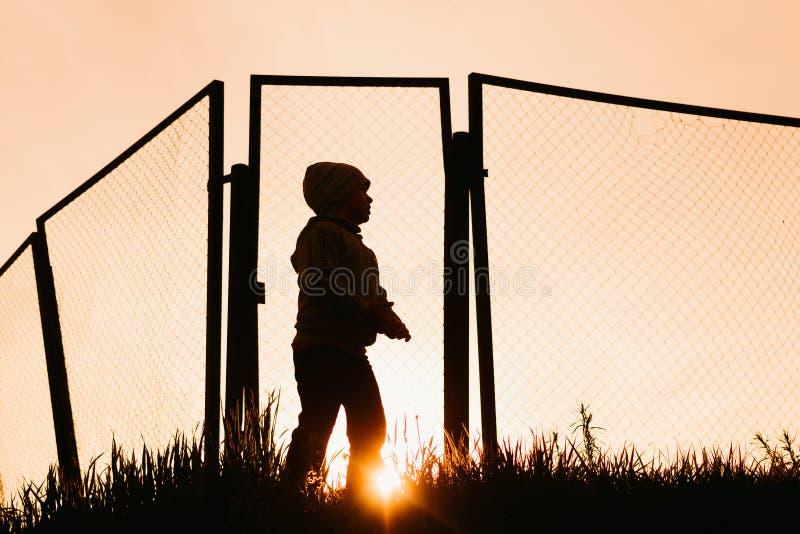 Silhueta do menino em um campo de futebol no por do sol no verão imagens de stock