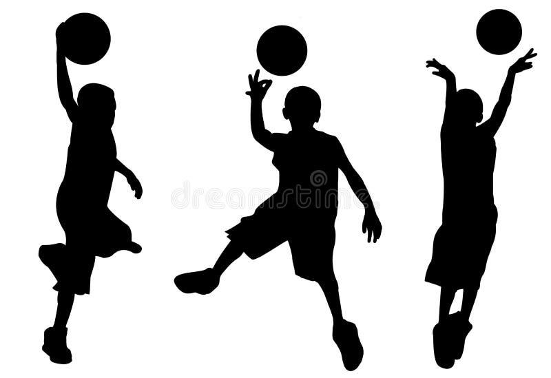 Silhueta do menino que joga o basquetebol ilustração do vetor