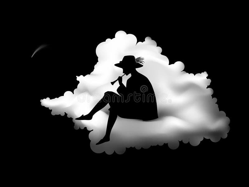 Silhueta do menino que senta-se na nuvem e que joga a trombeta, música de ninar para a estrela de queda, melodia da noite, sonhad ilustração royalty free