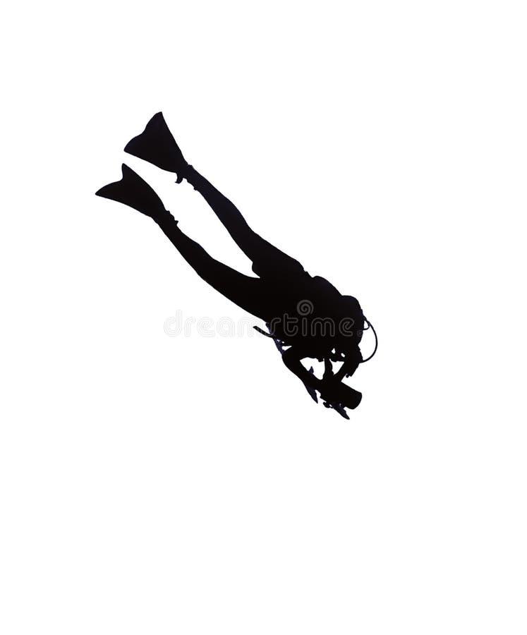 Silhueta do mergulhador ilustração stock