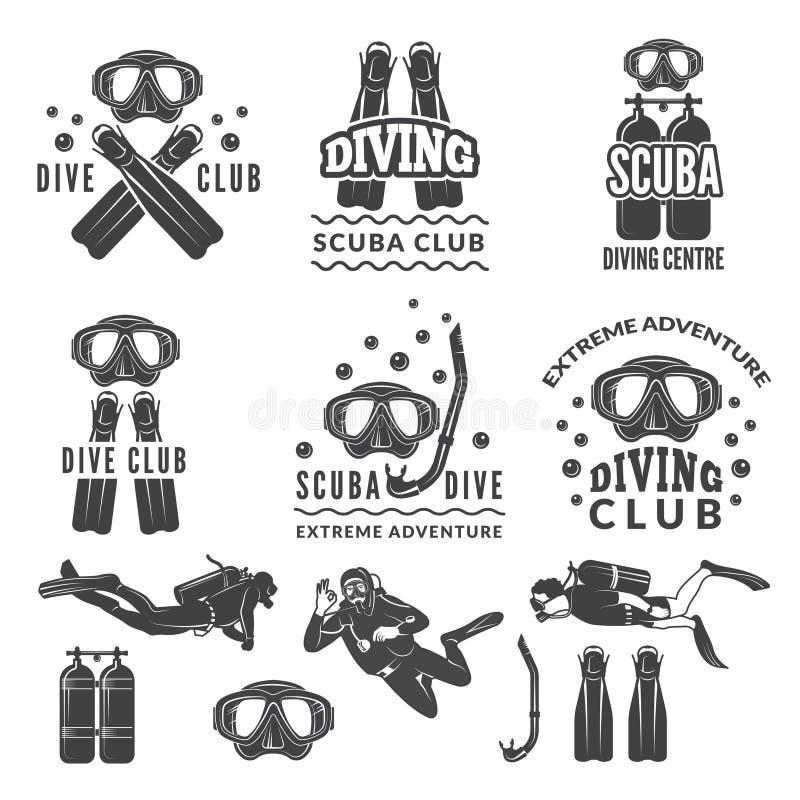 Silhueta do mergulhador e dos mergulhadores Etiquetas para o clube de esporte do mar ilustração royalty free