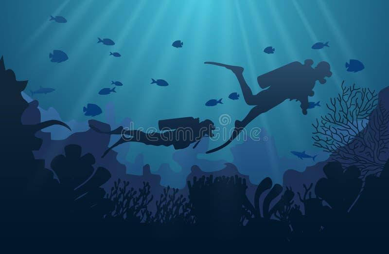 Silhueta do mergulhador, do recife de corais e de subaquático ilustração royalty free