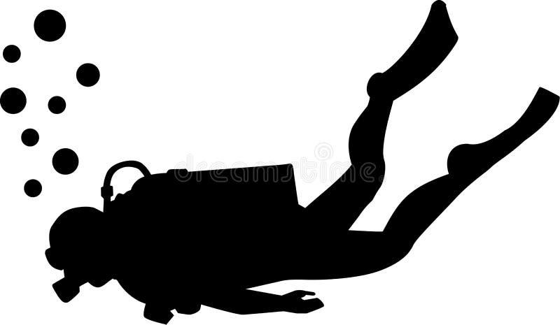 Silhueta do mergulho autônomo ilustração royalty free