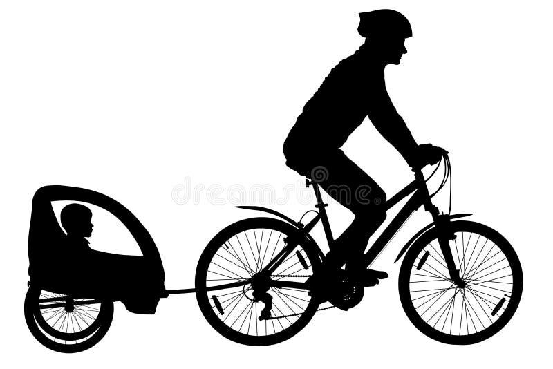 Silhueta do Mountain bike Ciclista com um carrinho de criança da criança Vetor da família do ciclismo da cidade ilustração do vetor