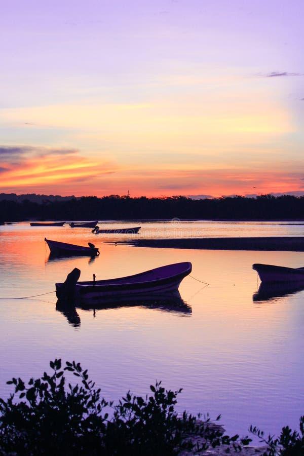 Silhueta do nascer do sol de barcos amarrados pesca fotos de stock royalty free