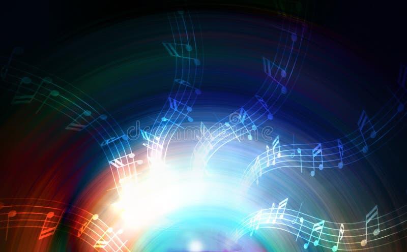Silhueta do orador da música e da nota audio, fundo abstrato, círculo claro Conceito da música ilustração do vetor