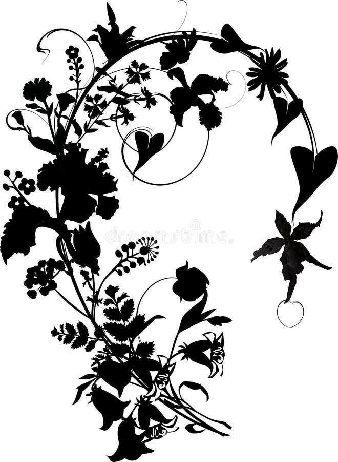 Silhueta do ornamento da flor ilustração stock