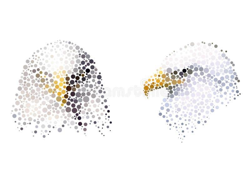 Silhueta do pássaro que consiste no círculo ilustração stock