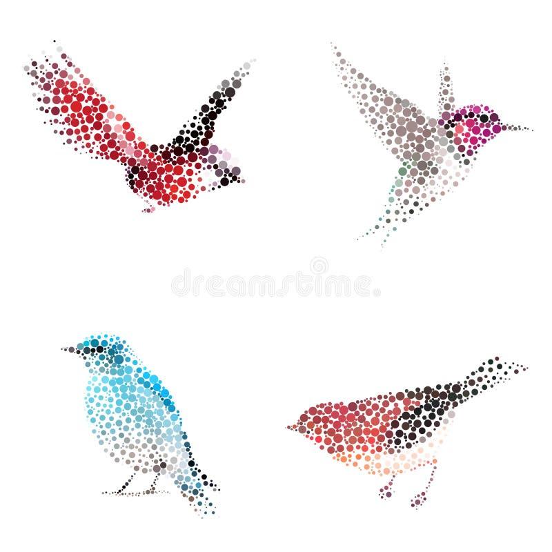 Silhueta do pássaro que consiste no círculo ilustração do vetor