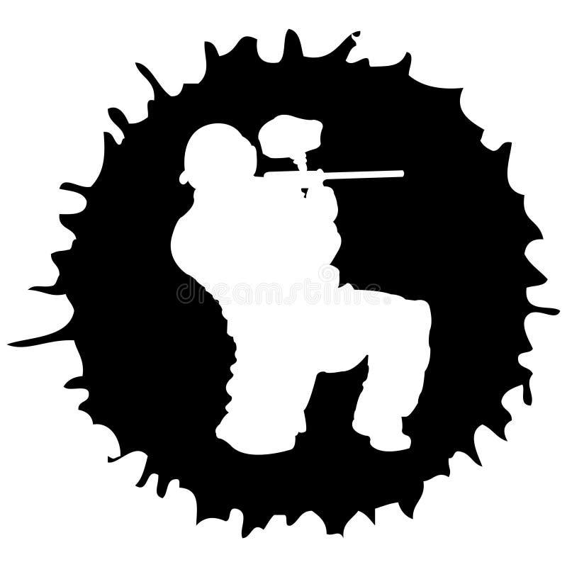 Silhueta do Paintball na gota ilustração do vetor