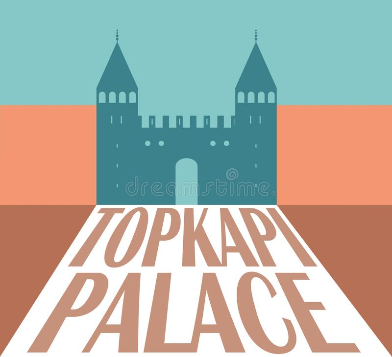 Silhueta do palácio de Topkapi, Istambul Turquia Ilustração do vetor ilustração royalty free