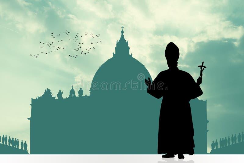 Silhueta do papa ilustração do vetor