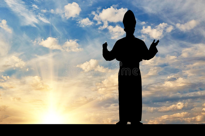 Silhueta do papa contra o céu da noite imagem de stock royalty free