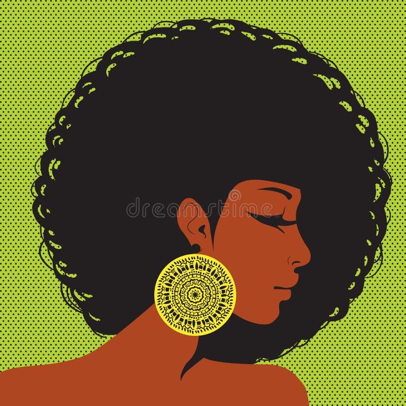 Silhueta do perfil, mulher afro-americano ilustração stock
