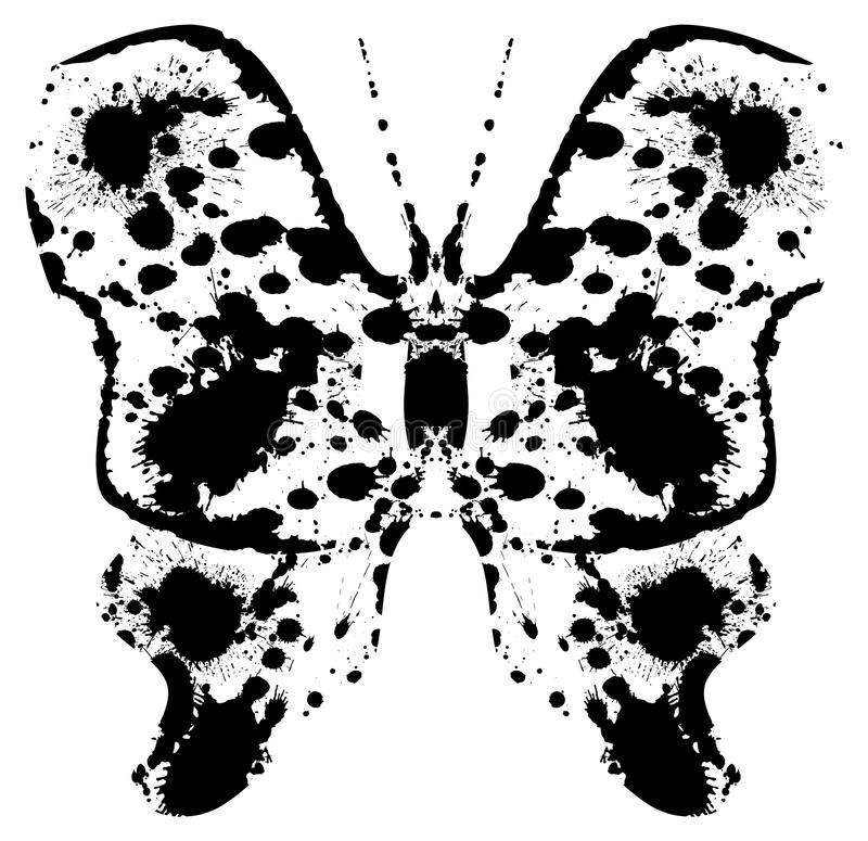 Silhueta do pintado batterfly por manchas ilustração royalty free