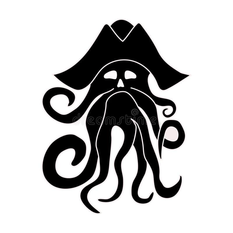 Silhueta do polvo gigante em um fundo branco O monstro de mar kraken Ilustração do vetor ilustração royalty free
