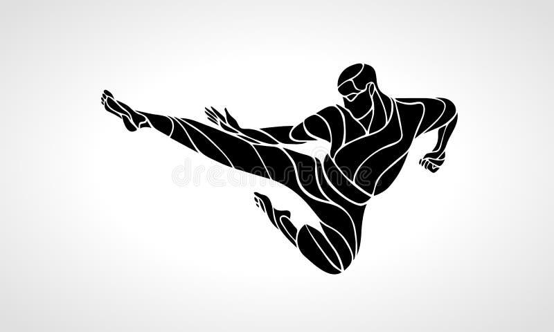 Silhueta do pontapé do salto das artes marciais Lutador do karaté ilustração do vetor