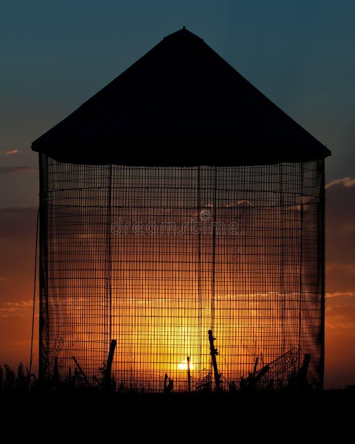 Silhueta do por do sol do escaninho da grão fotografia de stock royalty free