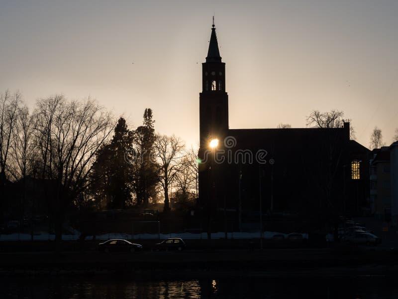 Silhueta do por do sol da igreja fotos de stock royalty free