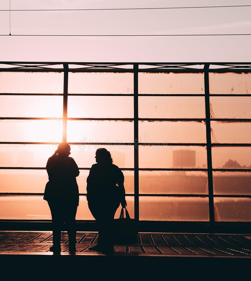 Silhueta do por do sol dos povos foto de stock
