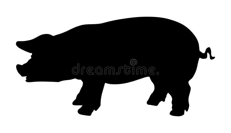 Silhueta do porco ilustração royalty free
