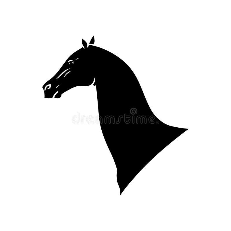 Silhueta do preto da cabeça de cavalo ilustração royalty free