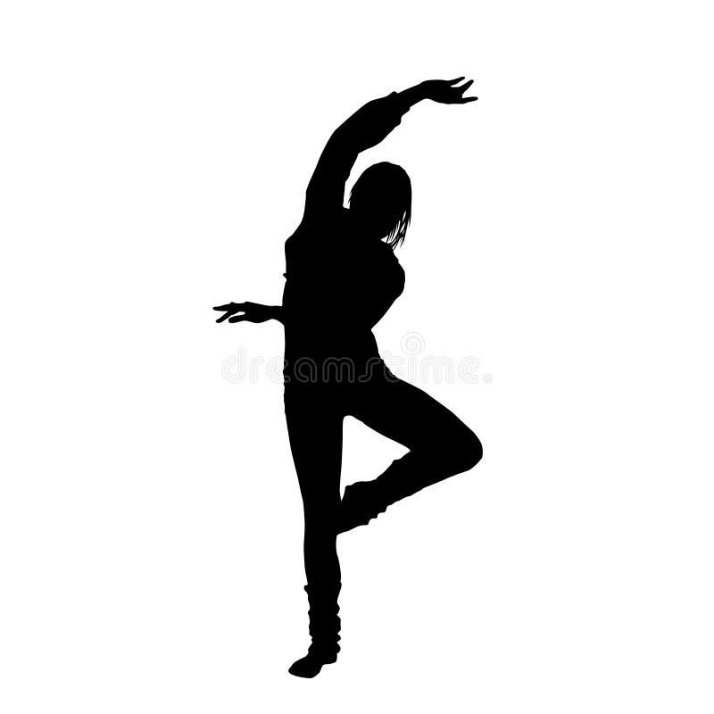 Silhueta do preto da menina de dança ilustração stock
