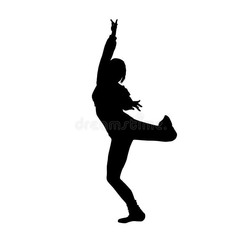 Silhueta do preto da menina de dança ilustração royalty free