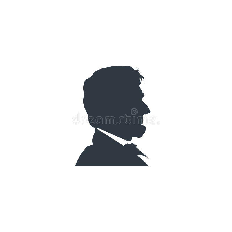 Silhueta do preto de Abraham Lincoln ilustração stock
