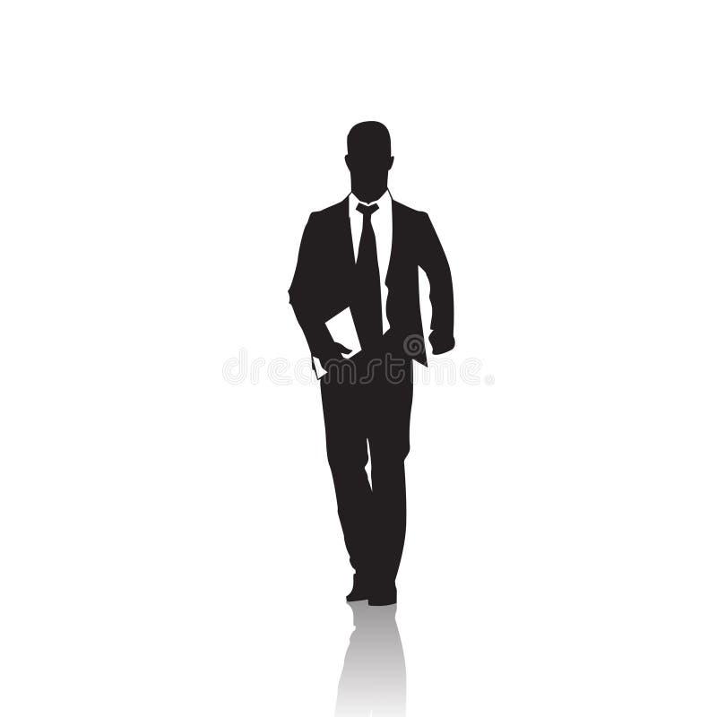 Silhueta do preto do homem de negócio que está o comprimento completo sobre o fundo branco ilustração stock