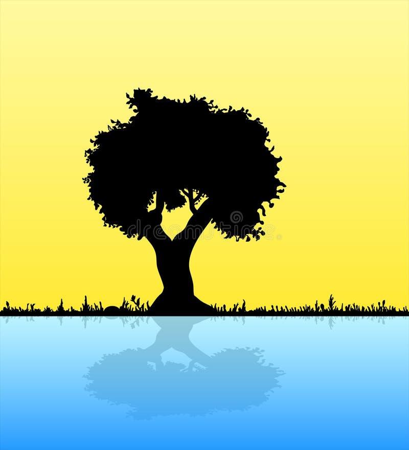 Silhueta do preto do vetor da ilustração de pares no amor do homem e da mulher sob a árvore, sentimental, flor dos amantes, data ilustração royalty free