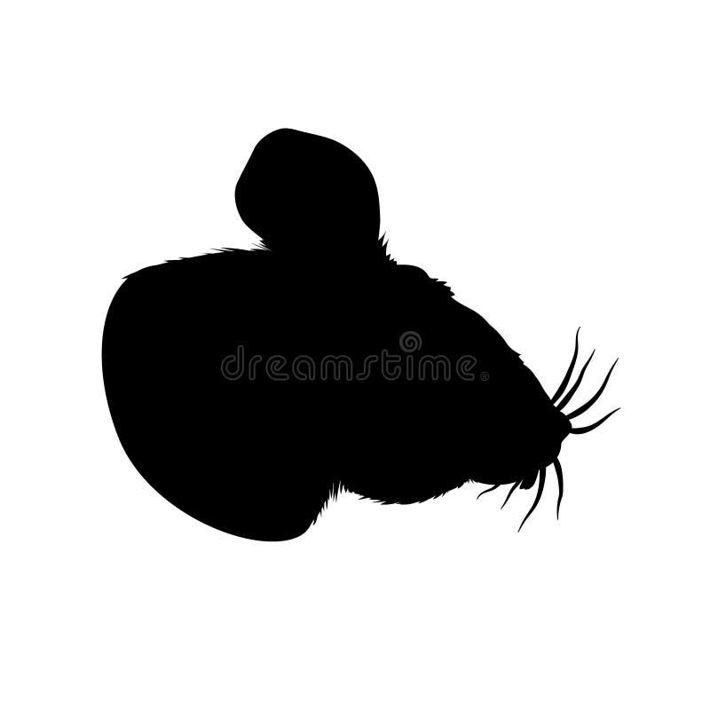 Silhueta do preto do rato, ilustração macia do vetor do busto no fundo claro Caráter bonito, isolado do roedor para desenhistas e ilustração do vetor