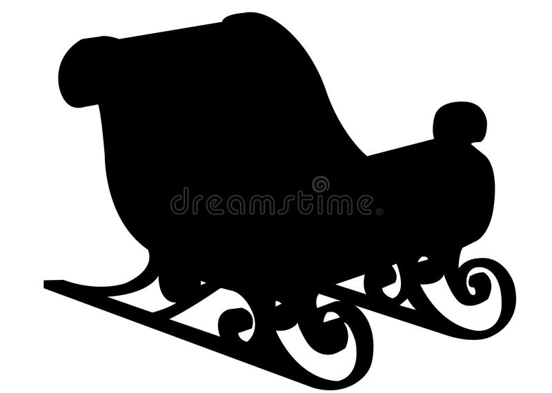Silhueta do preto do trenó de Papai Noel ilustração stock
