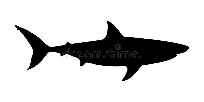 Silhueta do preto do tubarão predador do mar ilustração royalty free