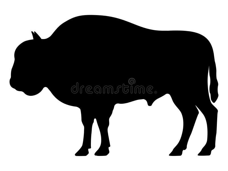 Silhueta do preto do vetor de um bisonte ilustração royalty free