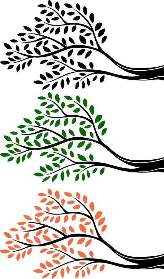 Silhueta do ramo de árvore dos desenhos animados ilustração stock