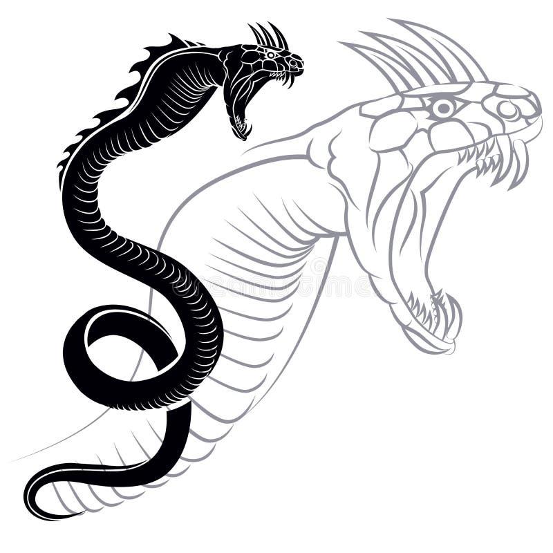 Silhueta do rastejamento chinês do dragão imagem de stock royalty free