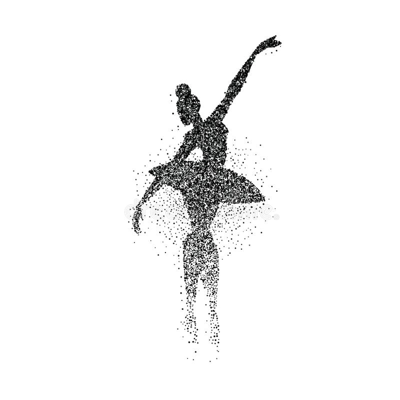 Silhueta do respingo da partícula da menina do dançarino de bailado ilustração stock