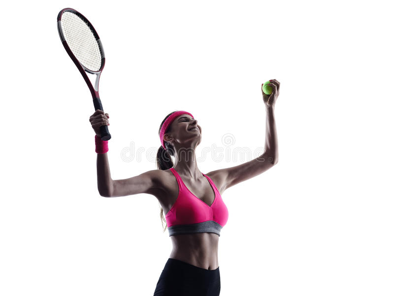 Silhueta do retrato do jogador de tênis da mulher foto de stock