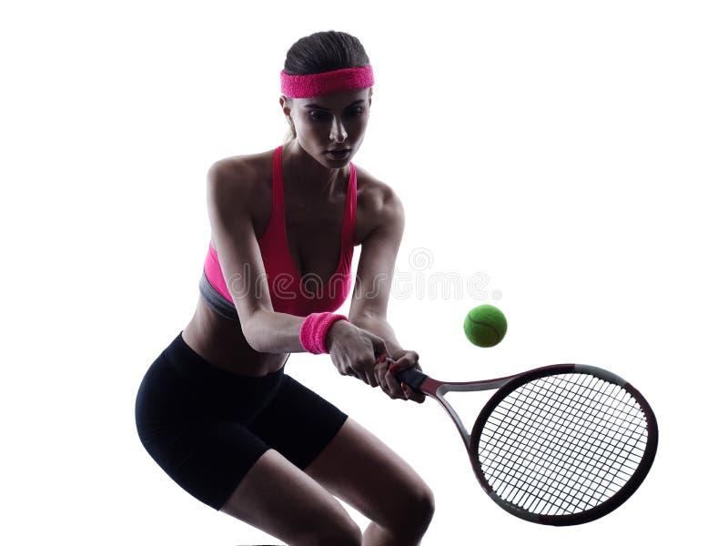 Silhueta do retrato do jogador de tênis da mulher fotos de stock