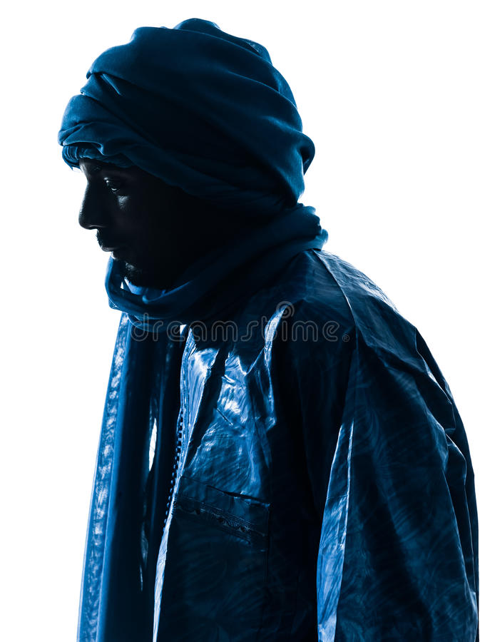 Silhueta Do Retrato Do Tuareg Do Homem Fotos de Stock Royalty Free