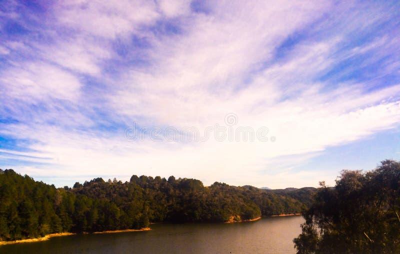 Silhueta do rio imagens de stock