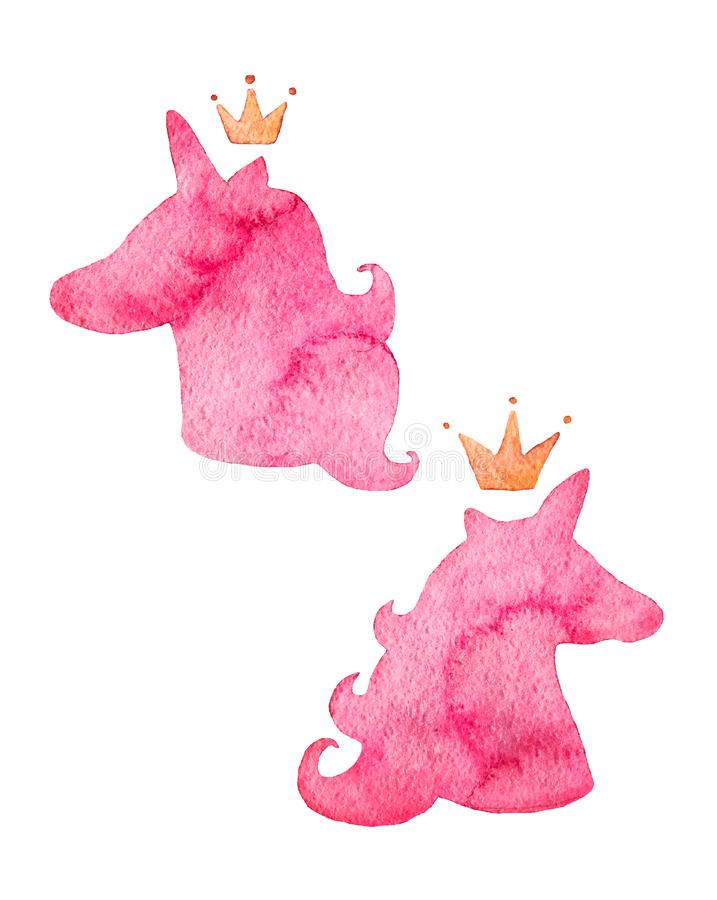 Silhueta do rosa da aquarela dos unicórnios Criatura fantástica, animal místico com coroa ilustração do vetor
