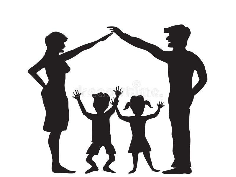 A silhueta do símbolo da família ilustração stock