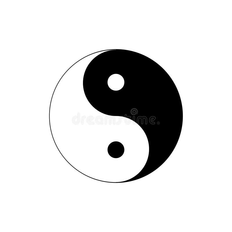 Silhueta do símbolo de Yin e de Yang da harmonia e do equilíbrio Isolado no fundo branco ilustração do vetor